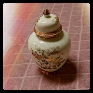 Vintage Satsuma Reproduction Peacock & Flowers Jar